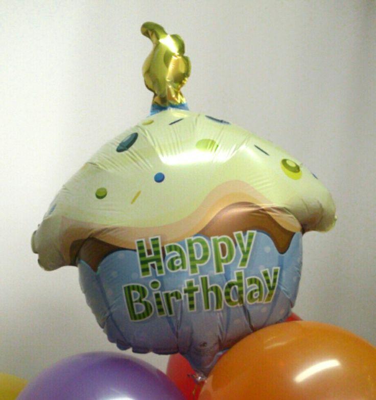 """Кексик """"Happy birthday"""" голубой. Riota.ru - воздушные шары, доставка шаров, оформление шарами, оформление шарами москва, оформление свадьбы, оформление дня рождения, декор, свадьба, день рождения, выписка из роддома, доставка шаров москва, романтический сюрприз, шары москва, шары с гелием, воздушные шарики, шары подпотолок, шарики москва, шарики с гелием, happy birthday , balloons"""