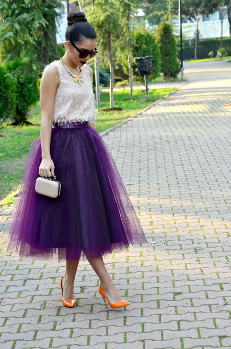 Purple Tulle skirt with orange shoes | Fashion ...