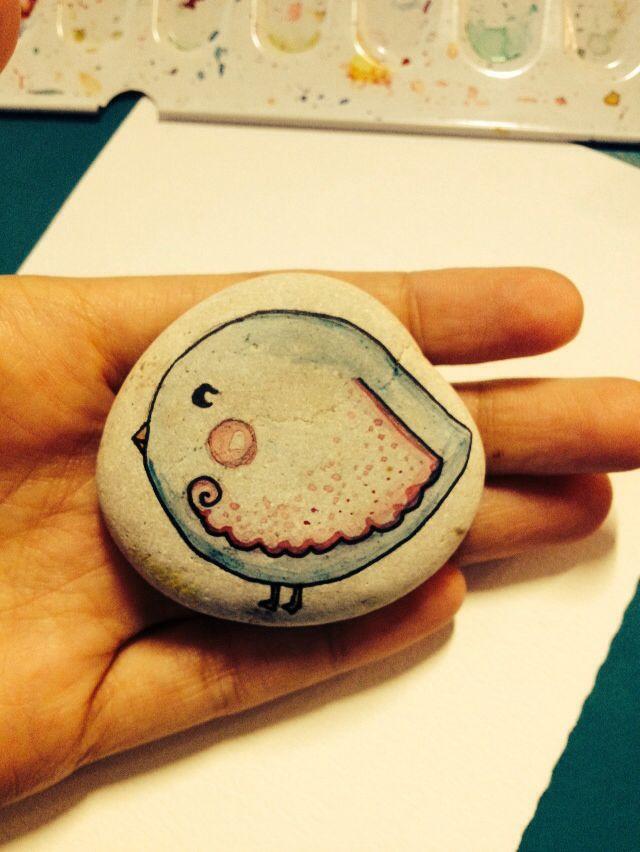 Little bird - illustrated stone