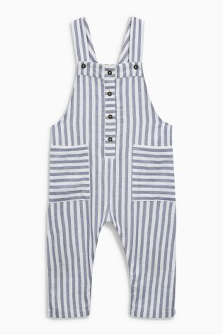 Buy Blue/White Stripe Dungarees (3mths-6yrs) from Next Australia