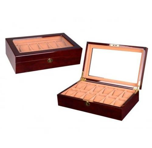 Luxury high gloss walnut wooden watch case wooden display Watch Box  $159.95  Size: 37*21.5*9.5 cm Elegant design with walnut wooden finished 12 soft removable  cushions for various size watches Top quality wooden watch case with clear top view — great for luxury watches high quality Soft khaki suede velvet