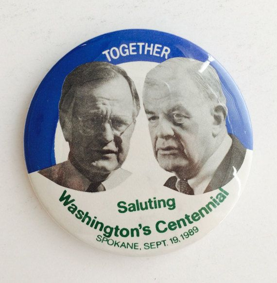 ▲•▵•▲ Washington State Centennial Pin, Button, Politics • Spokane, President George Bush, Speaker of the House Tom Foley, 1980s • GOP, Democrats, DNC, RNC, Political Science, Political Button, Bipartisan, Political Ephemera, U.S. Government, State History▲•▵•▲  #VintagePolitics #PoliticalButton #Bush #TomFoley #Bipartisan #USPolitics #OldMen #GrandpaChic #Collectible #WashingtonState #WA #Spokane #Etsy #VintageEtsy #Museum83   SEE VINTAGE ITEM:: https://www.etsy.com/listing/507636211 ::