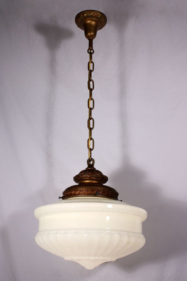Large Antique Pendant Light Fixture with Original Milk Glass Shade, c. 1910 NC547 For Sale | Antiques.com | Classifieds