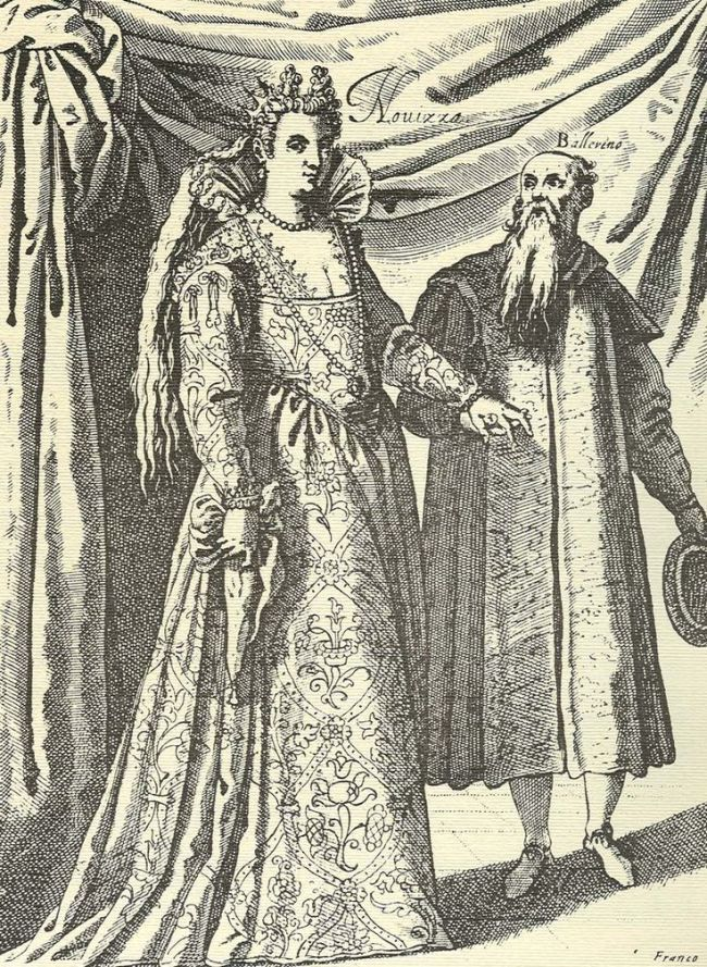 Vestido de mujer casada veneciana con su instructor de baile, hacia 1600, por Giacomo Franco