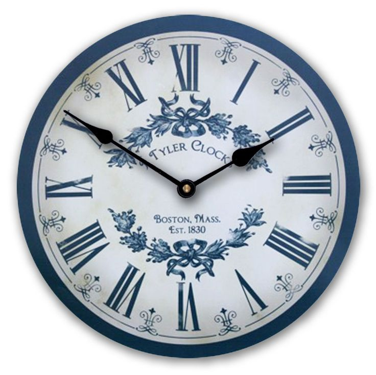 "GORGEOUS Vintage Blue Floral Clock comes in five sizes (12""-36"") and is available for customization. Ships free and makes a great Christmas gift! Starts at $44. http://thebigclockstore.com/category/blog/"