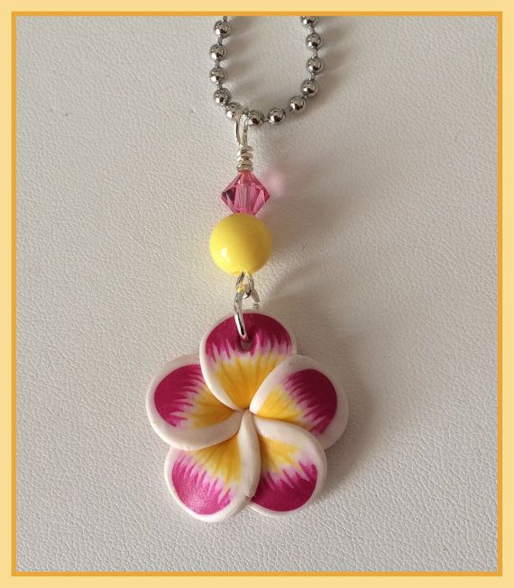 Pink and Yellow Polymer clay Plumeria post by PerfectlyPinupGram