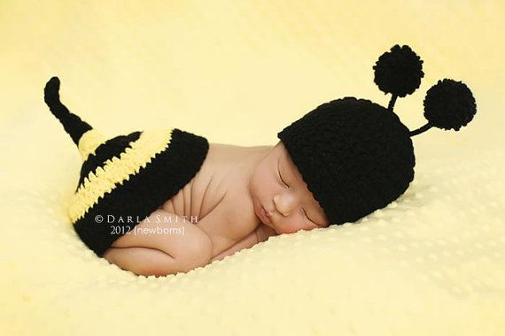 NEWBORN Baby Bumble Bee Hat & Tushie Topper Set by EternallyHooked, $35.00