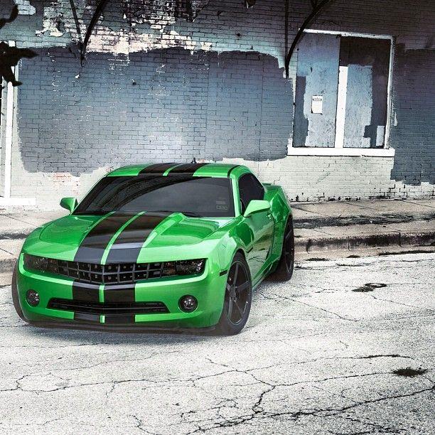 New school Chevy Camaro- emerald green looks mysterious