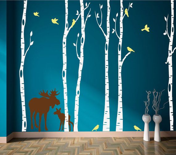 Birch Tree Decals Set of Six with Moose and Birds by StudioDecals