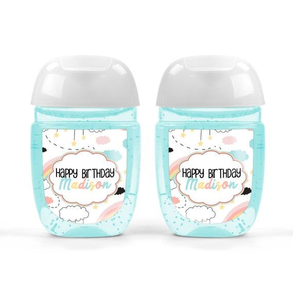 Doodle Rainbows And Clouds Birthday Hand Sanitizer Labels By