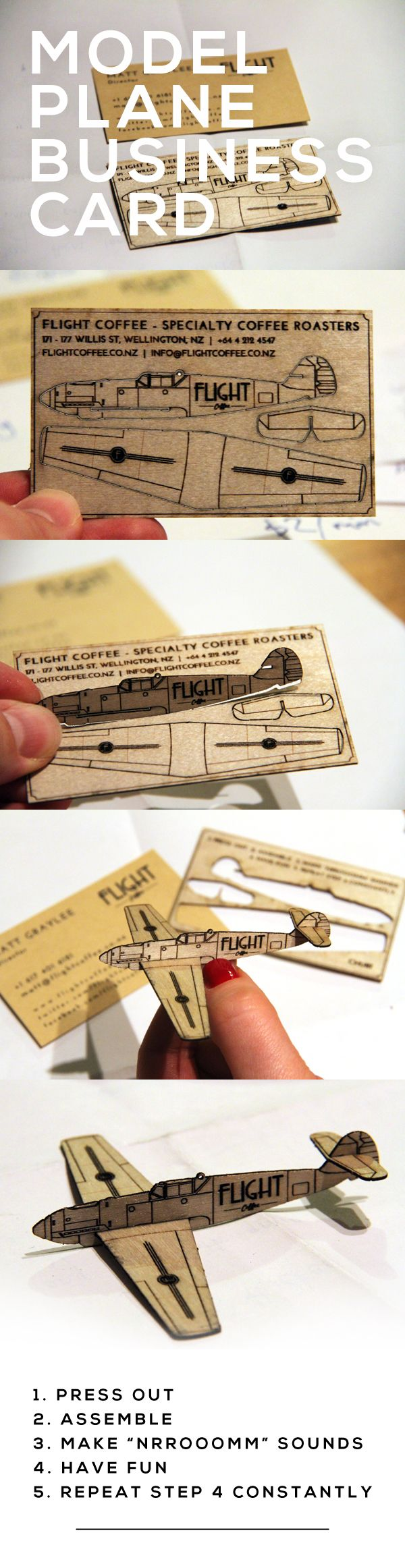 "Flight Coffee's new business cards are a little model planes! Laser cut wood 0.9mm plywood, with instructions that call for you to:  1. Press out  2. Assemble  3. Make ""nrrooomm"" sounds  4. Have fun  5. Repeat step 4 constantly! 