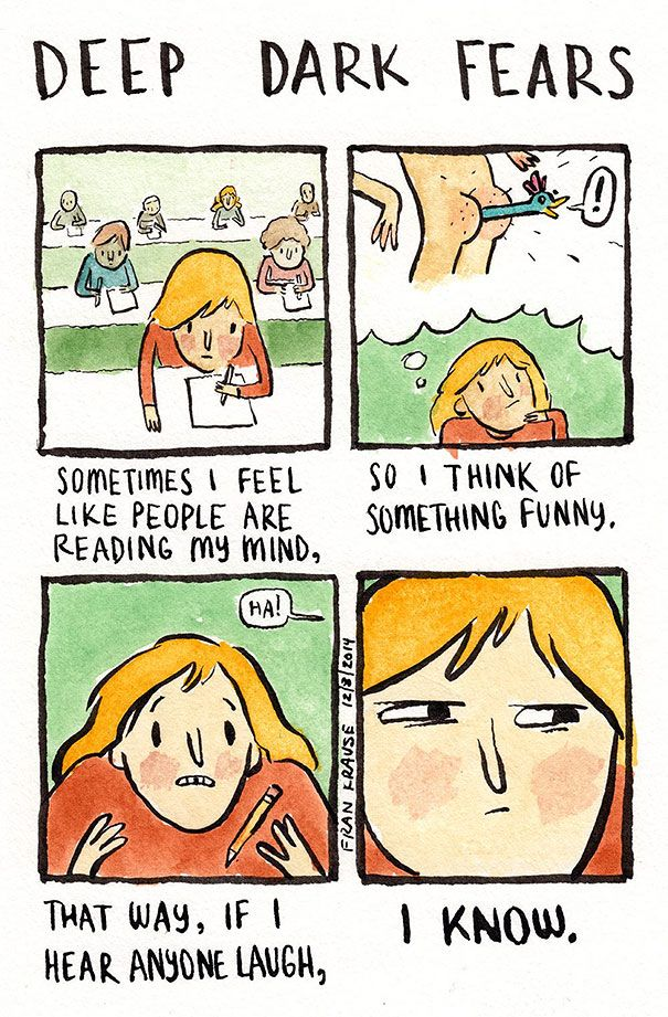 Mind readers... 32 Of People's Deepest And Darkest Fears Into Comics -Design Bump