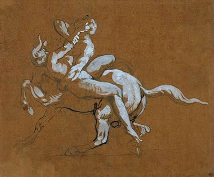 Théodore Géricault . Centaure enlevant une nymphe     plume et gouache 20,2 cm x 24,2 cm     [louvre.edu], photo RMN, Michèle Bellot