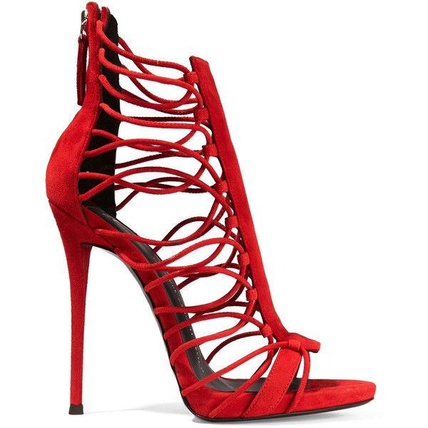 Giuseppe Zanotti Zoey suede sandals (1 385 AUD) ❤ liked on Polyvore featuring shoes, sandals, heels, red, braided sandals, caged heel sandals, caged sandals, red high heel sandals and red high heel shoes