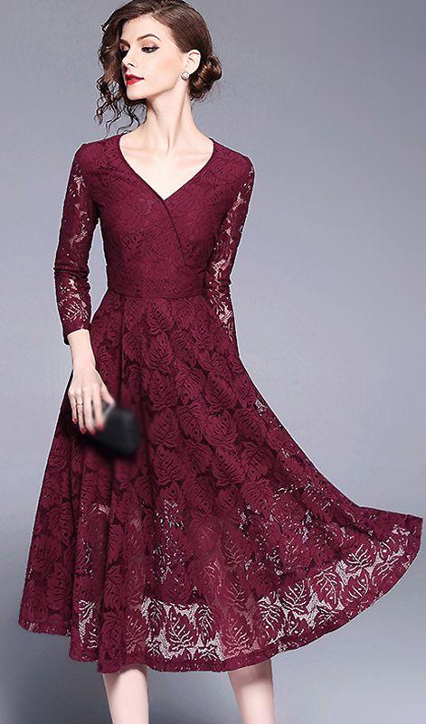 242e288cf6 Stylish V-Neck Long Sleeve Lace Skater Dress
