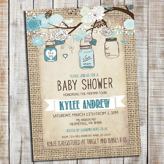 Burlap Rustic Baby Boy Shower Invitation, Mason Jar, Shabby Chic, Blue _53