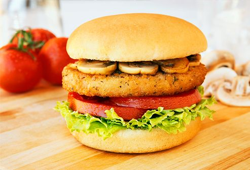 When You Want a Veggie Burger If you're looking for something closer to the texture of a real hamburger, try a veggie burger. Most supermarkets carry several brands of frozen veggie burgers. These are often made with a blend of vegetables, soy, and grains, providing protein and fiber.
