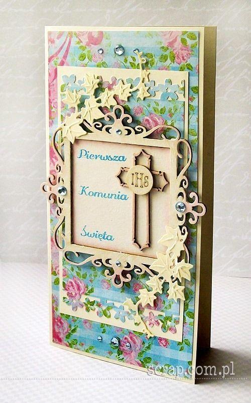 Kartka komunijna  http://www.hurt.scrap.com.pl/ozdobne-krzyze-z-tekturki-7-szt-z-ramkami.html http://www.hurt.scrap.com.pl/kielichy-z-hostiami-ozdobne-i-komunia-sw-4-szt.html http://www.hurt.scrap.com.pl/kwadratowa-ramka-ornamentowa.html http://www.hurt.scrap.com.pl/stempel-gumowy-pierwsza-komunia-swieta.html http://www.hurt.scrap.com.pl/tusz-pigmentowy-do-stempli-i-embossingu-turkus.html
