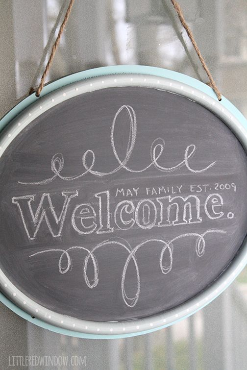 DIY Hanging Chalkboard Welcome Door Sign