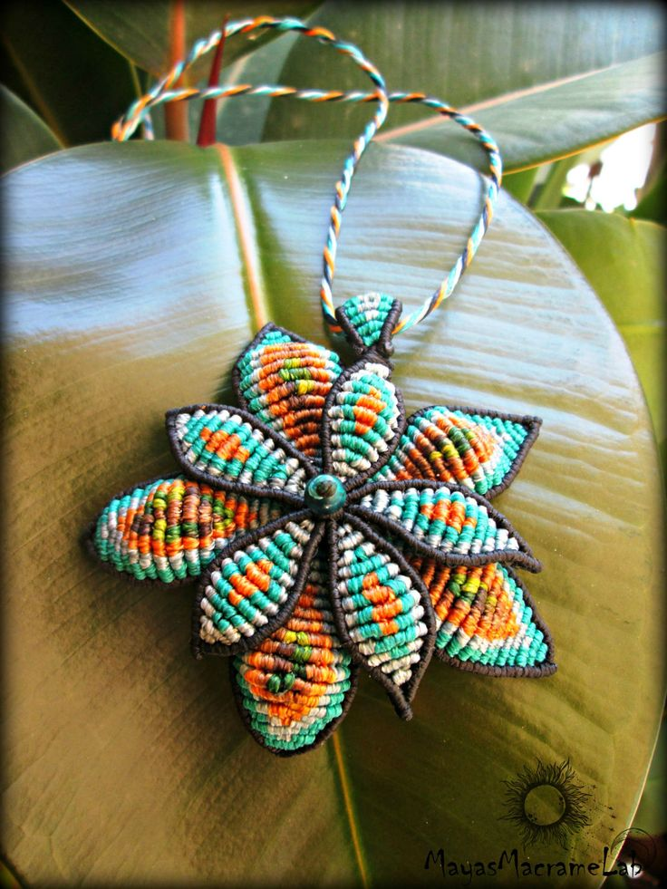 "Handmade Macrame Necklace ""Petals in colors"" by MayasMacrameLab on Etsy"