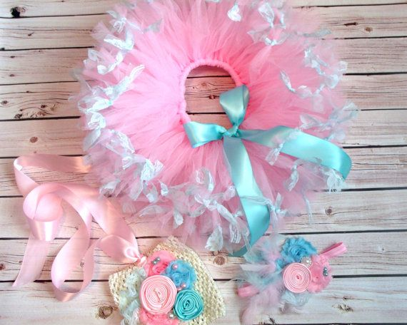 Pink and Aqua Tutu, Top & Headband,Birthday,1st birthday,Girl,Newborn,Infant,cake smash,photo prop,Tutu outfit,Petti rompers,Easter Outfits