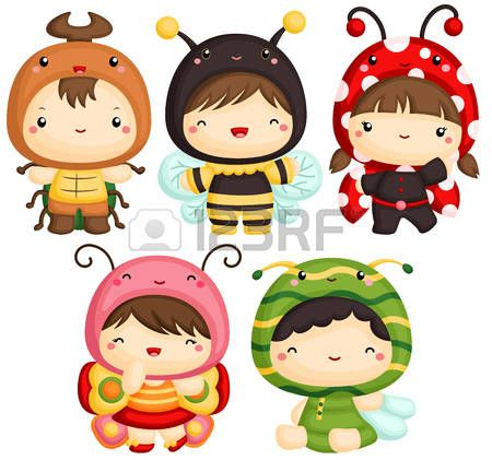 butterfly clip art: Ragazzi e ragazza in costume cute dell'insetto