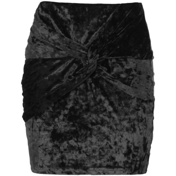 Boohoo Shay Crushed Velvet Knot Front Mini Skirt ($15) ❤ liked on Polyvore featuring skirts, mini skirts, pleated maxi skirts, pleated skirts, maxi skirt, evening maxi skirt and short mini skirts