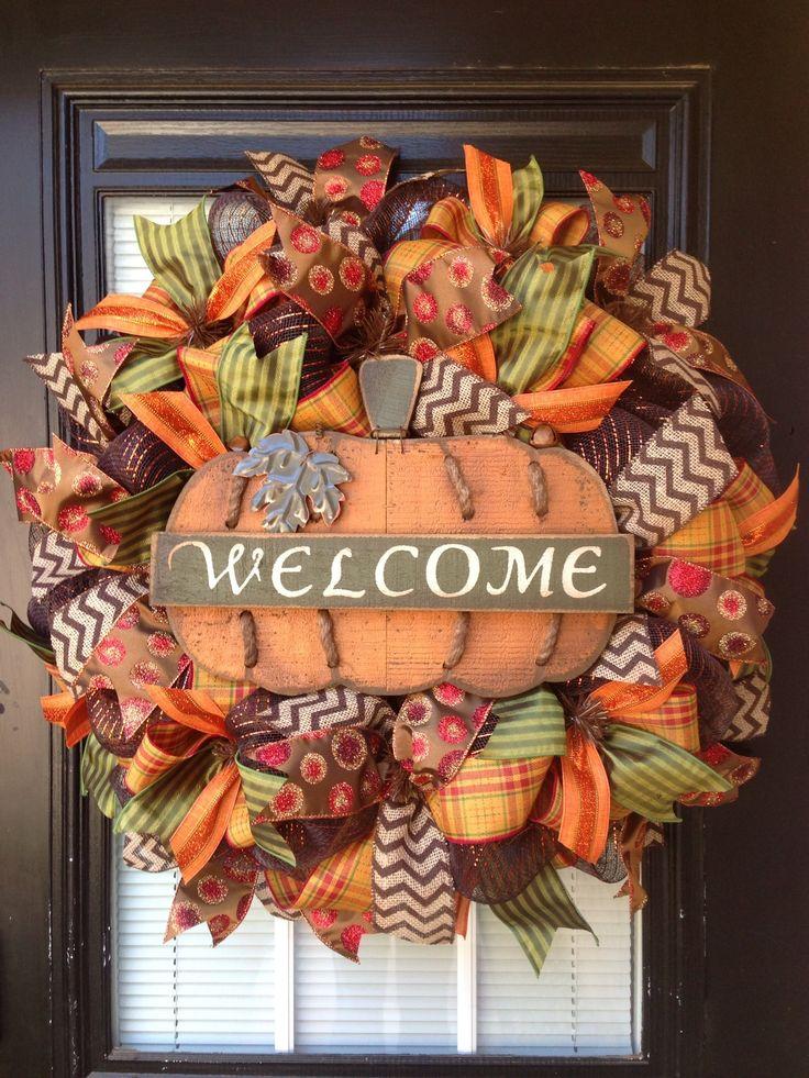 Welcome pumpkin mesh wreath by Glitzy Wreaths Www.facebook.com/glitzywreaths