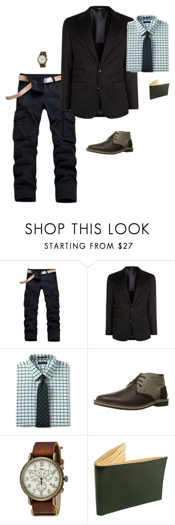 """First MIX"" by kenske on Polyvore featuring Dolce&Gabbana, Lands' End, Steve Madden, Timex, Tusk, men's fashion and menswear"