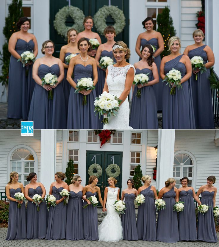 Gorgeous dusty purple bridesmaid dresses. We love the bride's hairpiece too! Stunning Winter wedding.