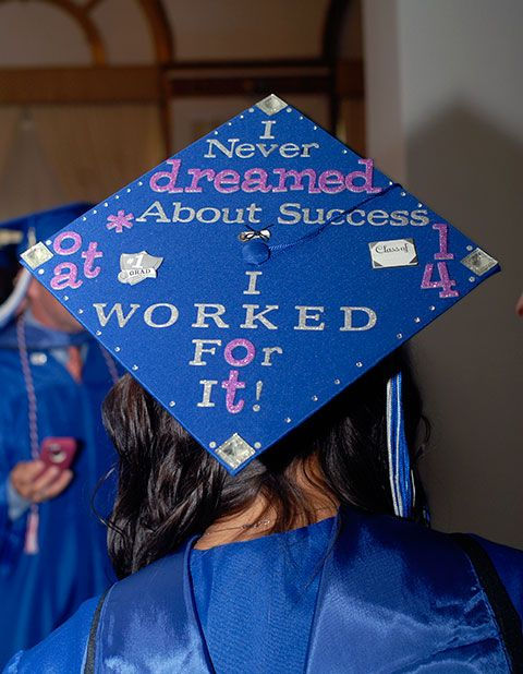 The cap of Zoie H. Cipriani, of Williamsport, declares the stick-to-it attitude that helped her earn an occupational therapy assistant's degree.
