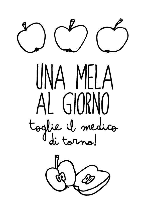 Una mela al giorno... - Typography poster art print italian cooking quote print letterpress Kitchen mediterranean. $26.00, via Etsy.