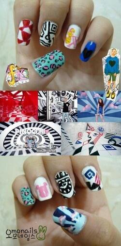 F(x) mv inspired nail art, kpop music