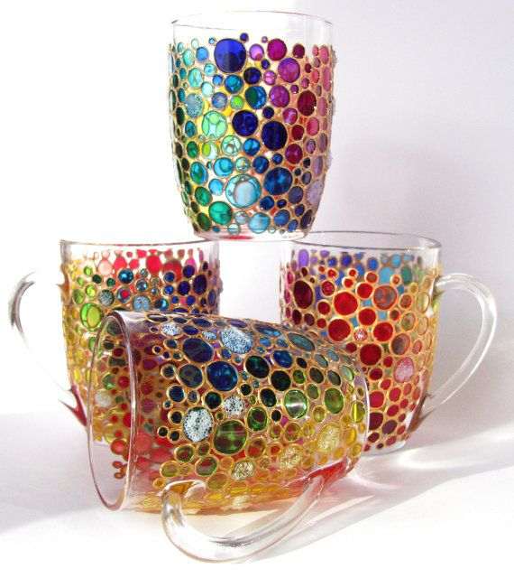 Set of 4 Hand painted Suncatcher Coffee Mugs, Multi Coloured Bubbles Mugs, Painted Glass cups