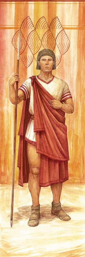 Illustration of Iberian man with a spear by Juan Navarro