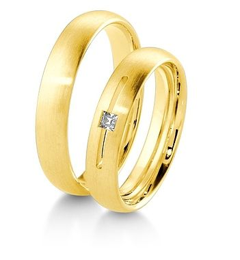 Breuning Trouwringen | Inspiration collectie gouden ringen | 4,5mm diamant prinses geslepen  0.06ct verkrijgbaar in 8,14 en 18 karaat | 48041090 / 48041100