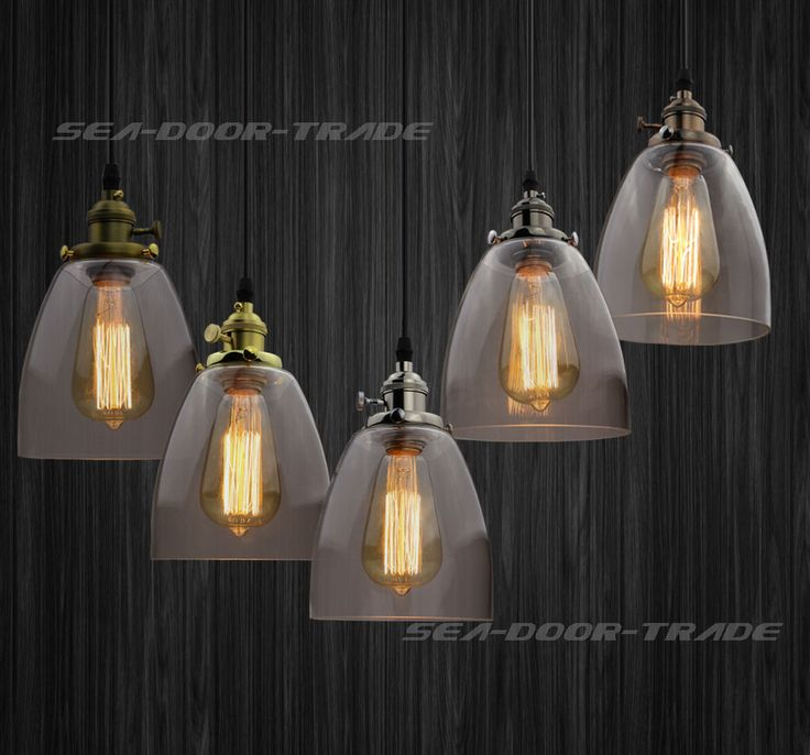 51 best lamp shades images on pinterest lamp shades lampshades new clear glass vintage retro cafe bar chandelier ceiling pendant light fixture mozeypictures Choice Image