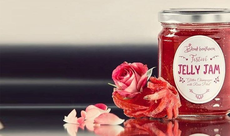 """Jelly Jam from rose champagne, rose petals, ibiscus, chili and silver particles, a product of the greek """"Piliaki Gi""""!"""