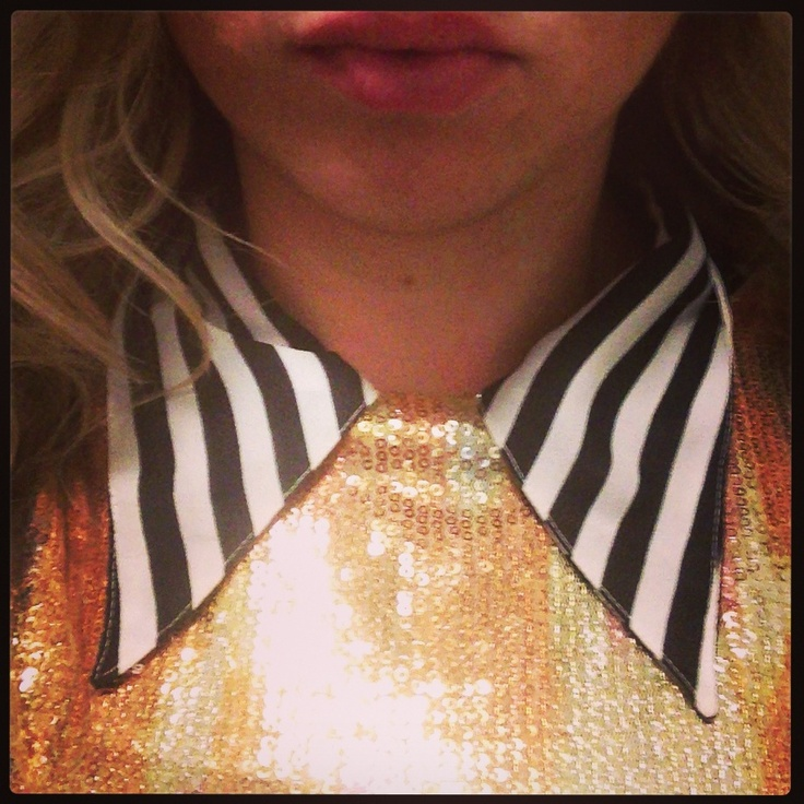 New Years Outfit...#HM sequence dress over striped button down with collar