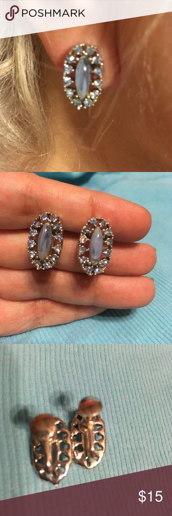Vintage screw-back earrings Vintage moonstone look screwback earrings in Silvertone metal with blue rhinestones (one small rhinestone missing reflected in price ) Jewelry Earrings
