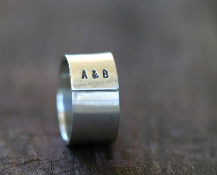 Personalized Initials Sterling Silver Band Ring Mens. $78.00, via Etsy.