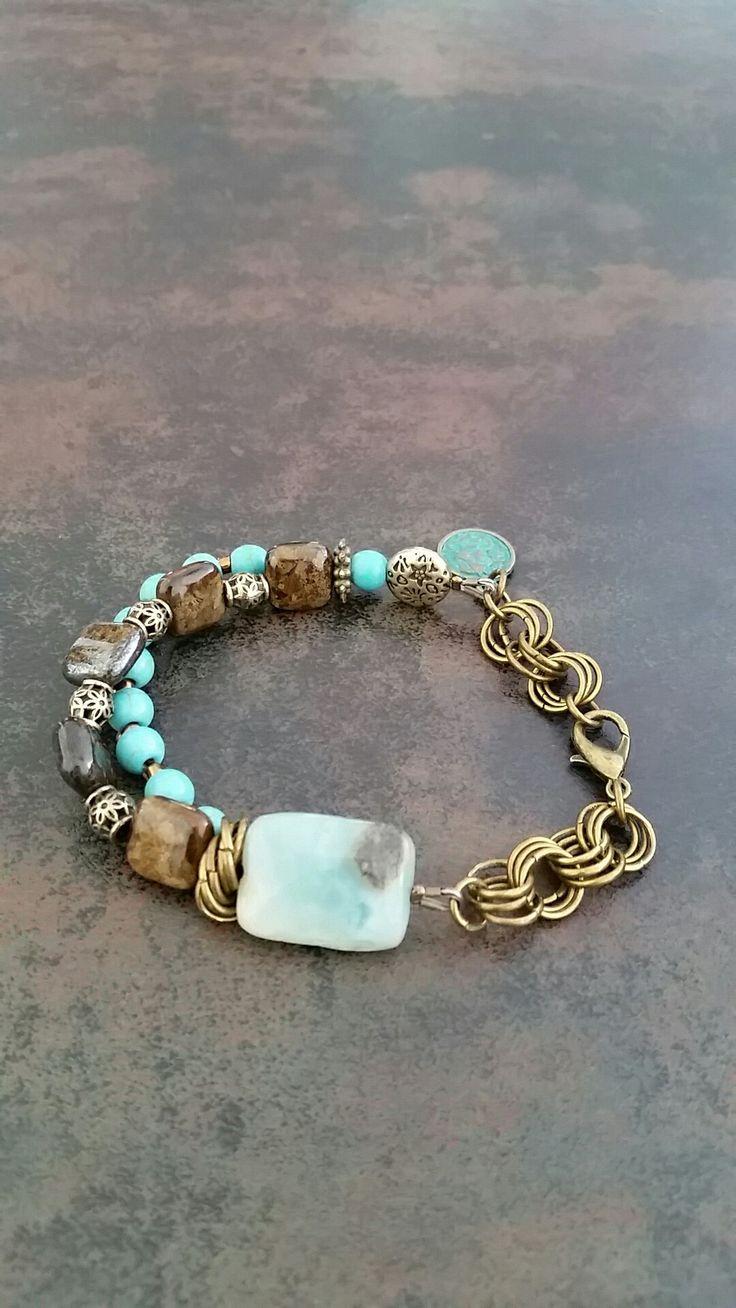 Turquoise&Hematite&Brass