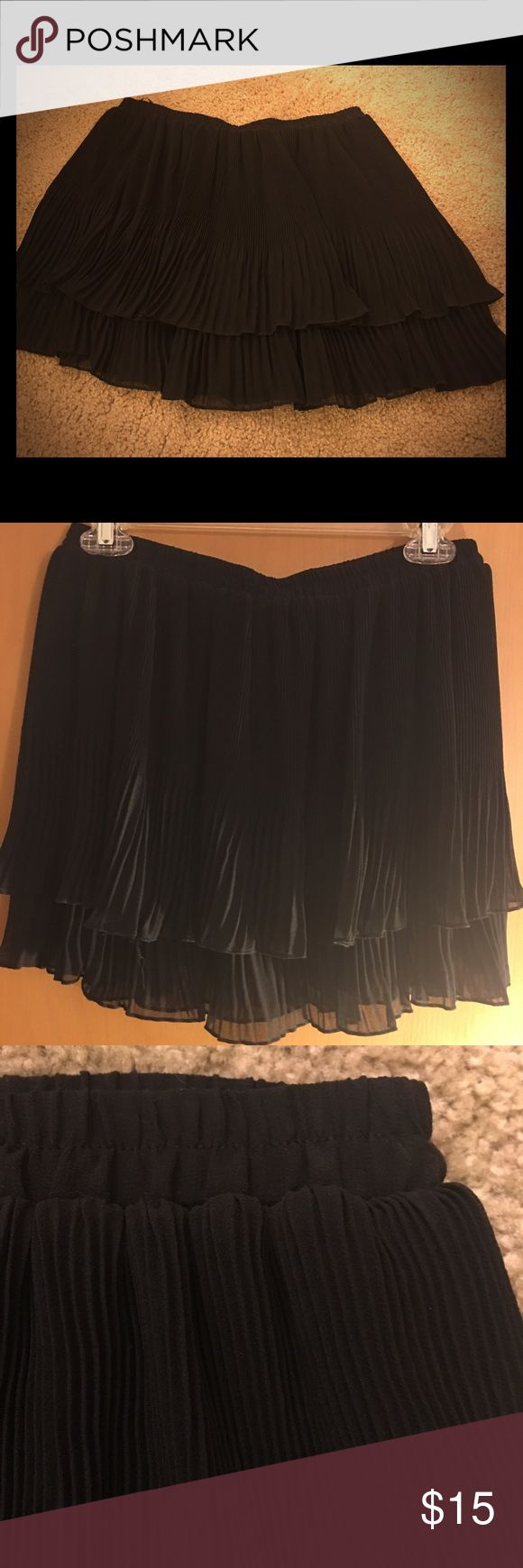 Black ruffle urban outfitters skirt Only worn once. Black ruffle skirt with elastic waist. Super comfy Ecote Skirts Mini