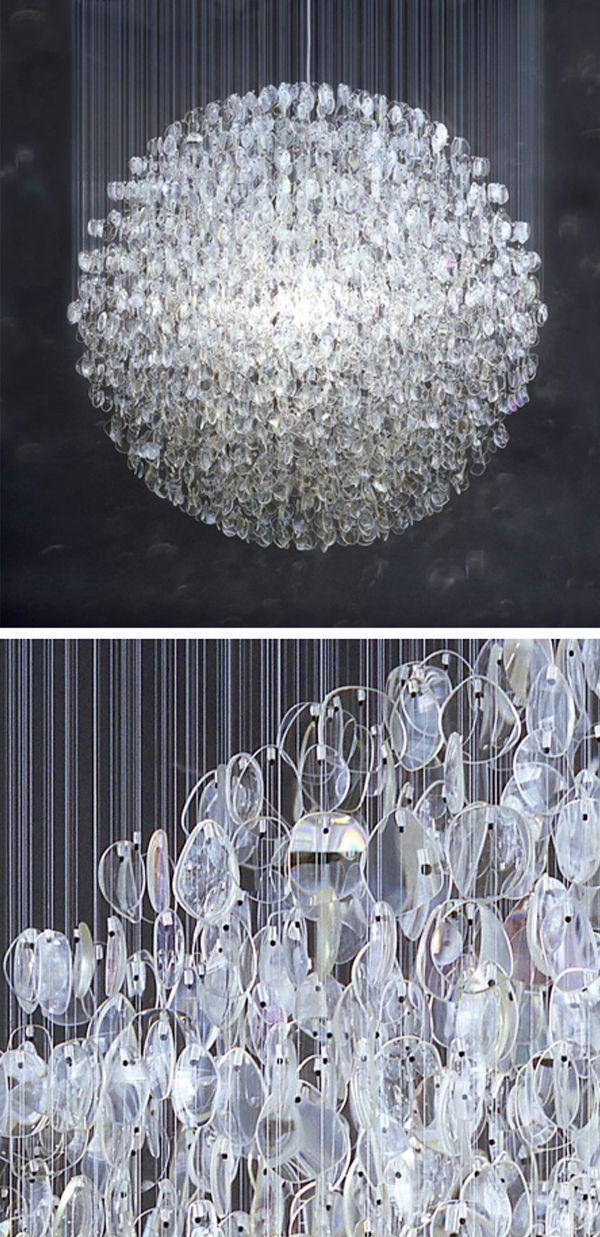 Disco ball made up of 4500 used prescription eyeglass lenses!