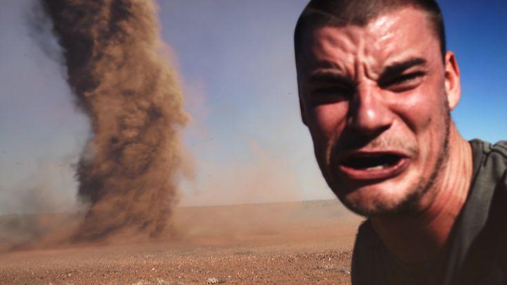 WTF ! :-) Crazy Guy Runs Into Outback Tornado To Take Selfie