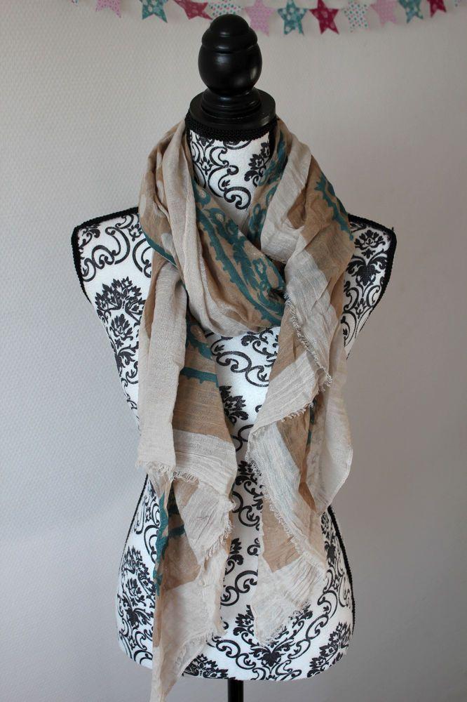4e8630bc19cdc Maxi foulard 190 x80 scarf grande taille chale echarpes femme cheche étole  beige
