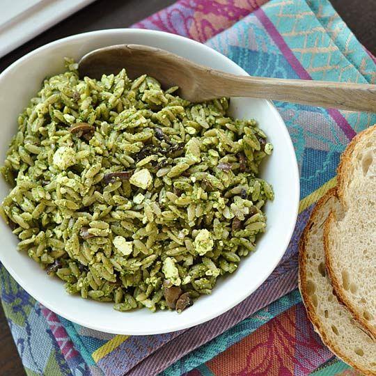 pesto olives feta orzo spinach orzo pasta salads pesto salad pesto ...