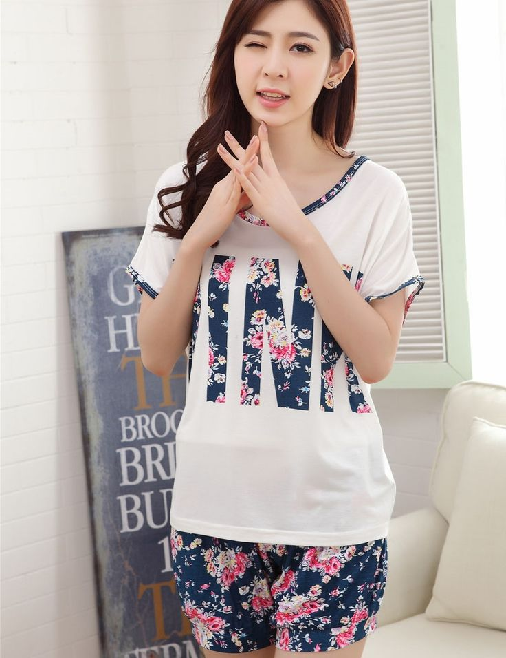 13.25$  Buy here - Fashion Summer High Quality Milk Silk Flowers Pink Short Sleeved Lace Spliced White Shorts Pajamas Home Clothing Wholesale   #buyininternet