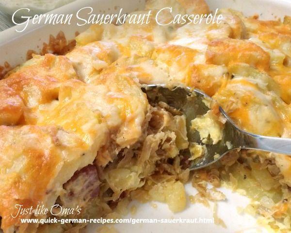 German Sauerkraut Casserole ... perfect for using up leftovers ... check out http://www.quick-german-recipes.com/german-sauerkraut.html
