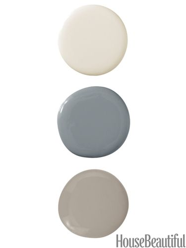 lovely neutrals.  Shaded White by Farrow & Ball; Dior Gray and Briarwood, both by Benjamin Moore.